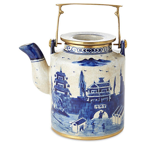 Small Great Wall Teapot, Blue/White