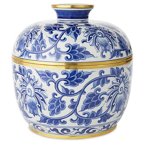 """10"""" Vine Covered Bowl, Blue/White"""