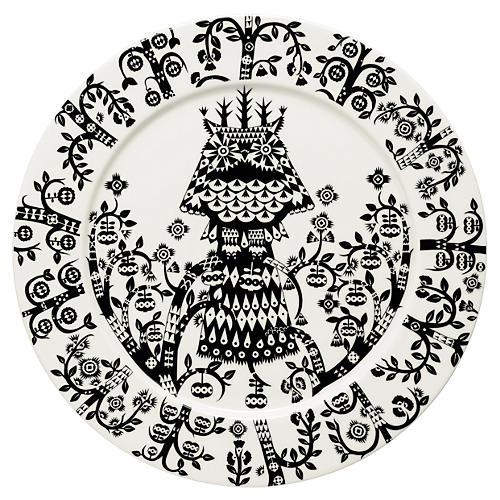 "Taika 10.6"" Plate, White/Black"