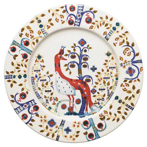 "Taika 8.75"" Salad Plate, White/Multi"