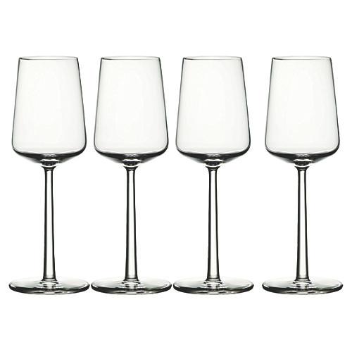 S/4 Essence White-Wine Glasses, Clear