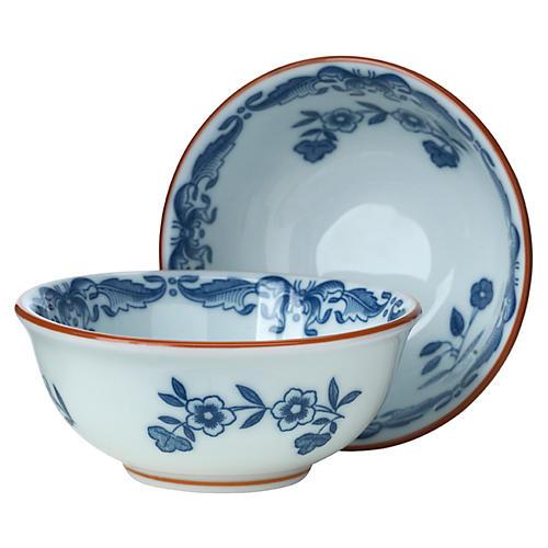 S/2 Ostindia Bowls, Blue/White