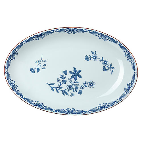 Ostindia Oval Serving Platter, Blue/White
