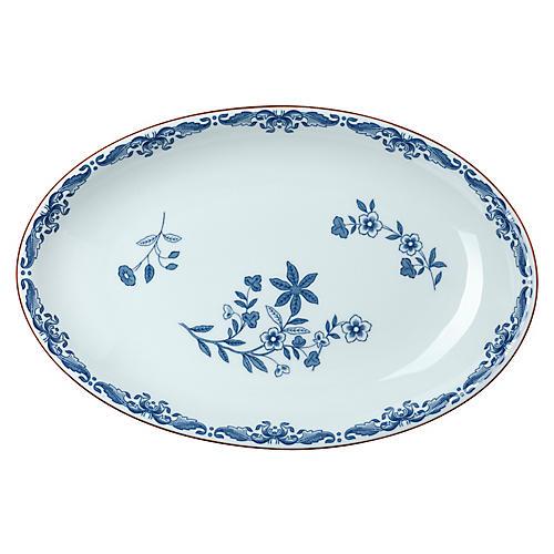 Ostindia Oval Serving Platter, Blue/White