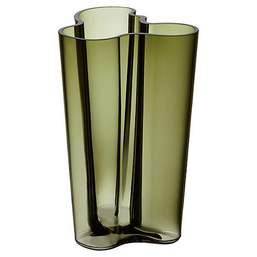 "10"" Aalto Finlandia Vase, Moss Green"