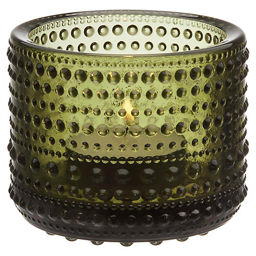 """3"""" Kastehelmi Tealight Candleholder, Moss Green"""