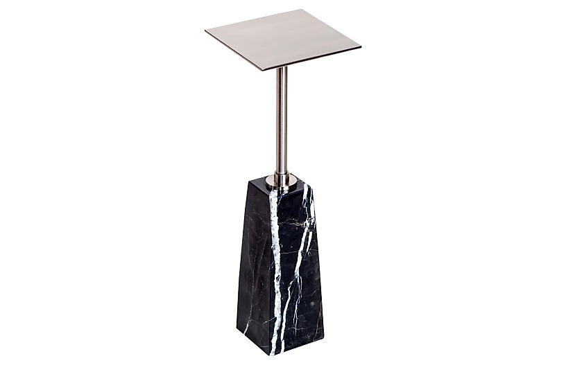 Arnold Drinks Table, Marbled Black