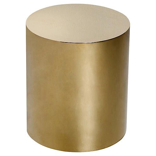 Aubrey Cylinder Side Table, Brass