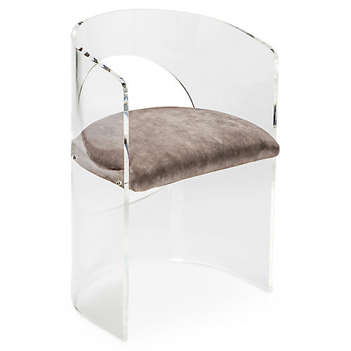 Corin Acrylic Accent Chair, Gray
