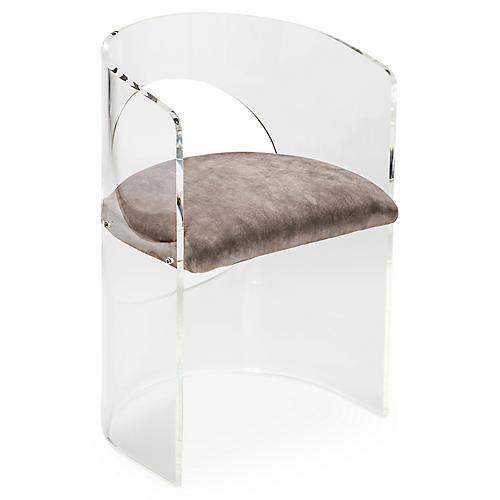 Corin Acrylic Accent Chair, Gray