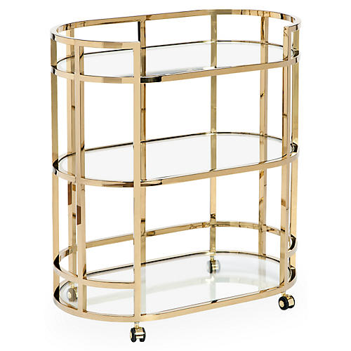 Hayden 3-Tier Bar Cart, Brass