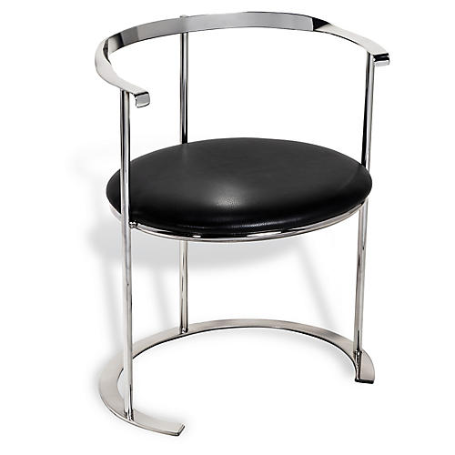 Hayes Leather Chair, Silver