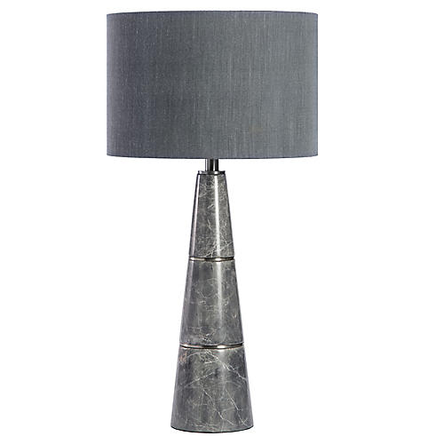Dex Marble Table Lamp, Gray/Nickel