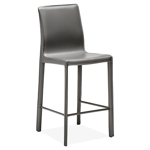 Jada Counter Stool, Gray Leather