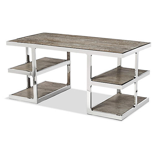 Soto Desk, Polished Nickel