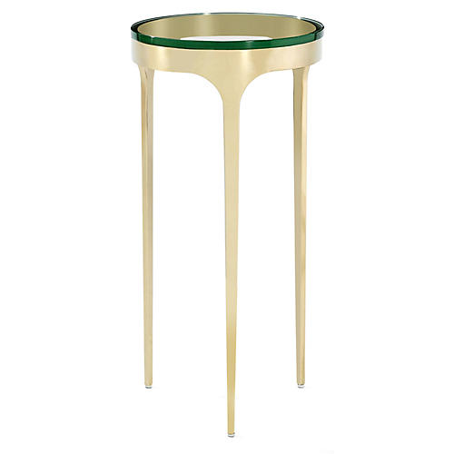 Camilla Side Table, Clear/Brass