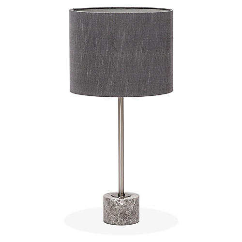Beck Table Lamp, Gray/Nickel