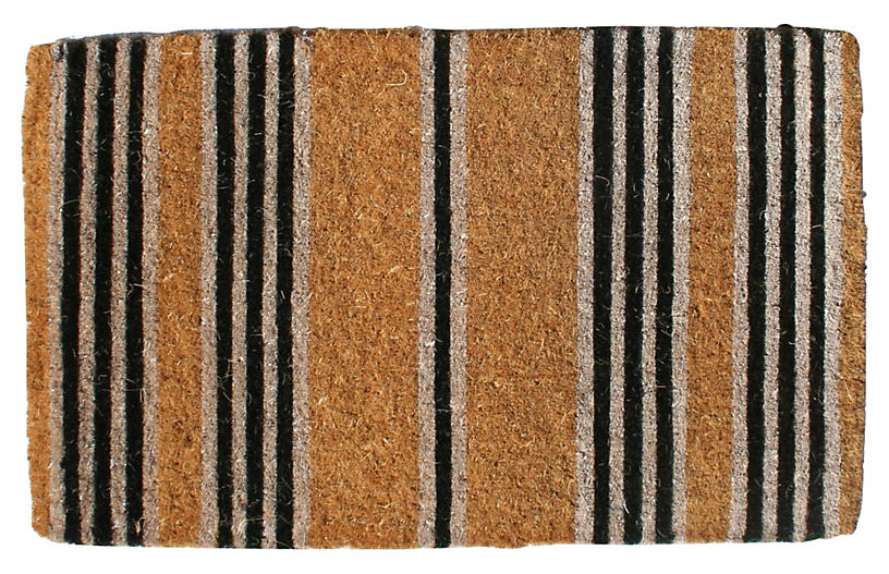 Stripes Outdoor Mat, Brown/Black