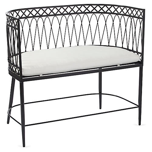Linden Bench, Charcoal/White Sunbrella