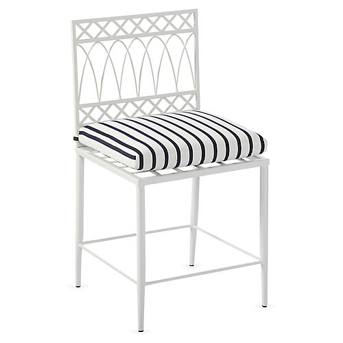 Linden Side Chair, White/Navy Sunbrella