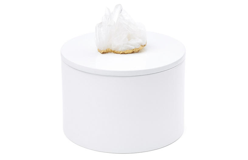 Round White Lacquer Box w/ Crystal