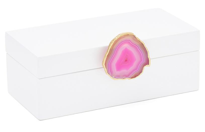 Medium White Box w/ Pink Agate Knob