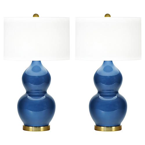 S/2 Ainsley Table Lamps, Royal Blue