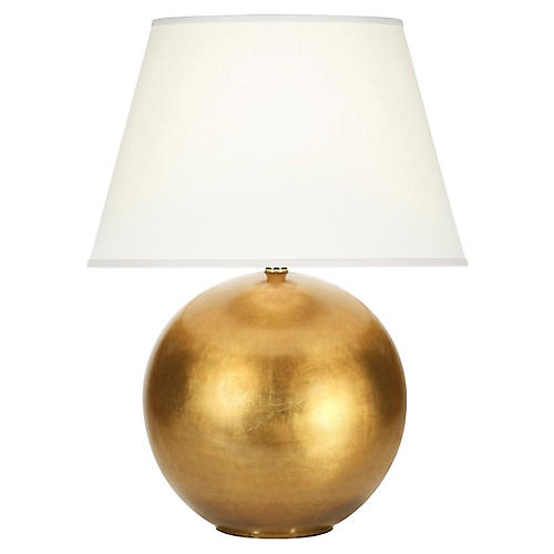 Pomona Table Lamp, Gold Leaf/White