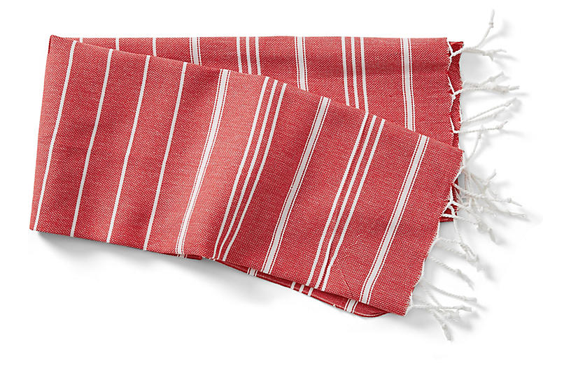 Basic Hand Towel, Red/White