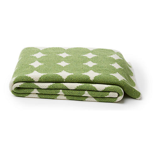 Dots Cotton-Blended Throw, Green