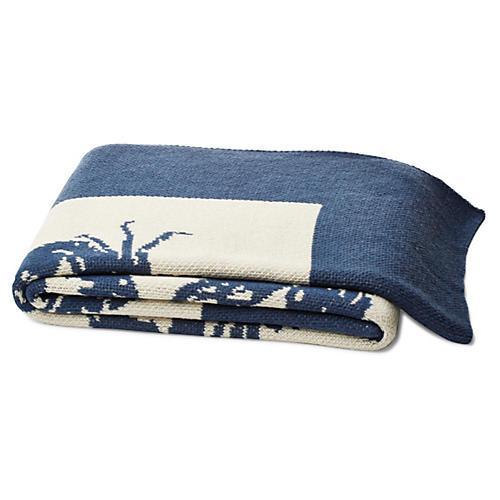 Crab Cotton-Blend Throw, Blue
