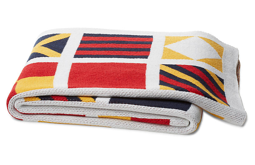 Signal Flags Cotton-Blended Throw, Multi