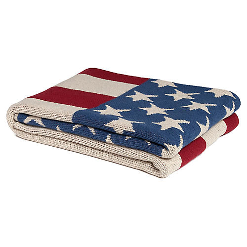 Eco American Flag Throw, Slate
