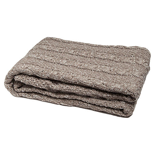 Reversible Heathered Cable Throw, Brown