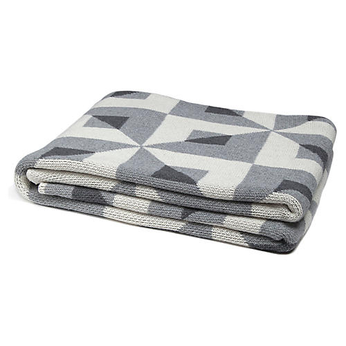 Tile Motif Throw, Smoke