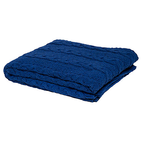 Eco Heathered Cable Throw, Blue
