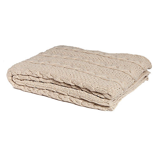Eco Heathered Cable Throw, Flax