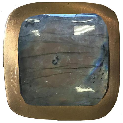 Benson Pull, Antiqued Brass/Labradorite