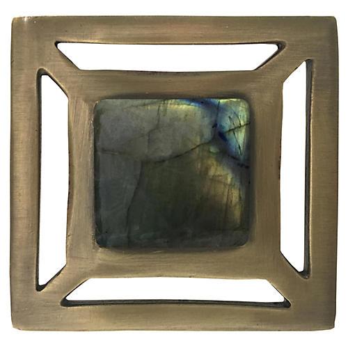 Evans Pull, Antiqued Brass/Labradorite