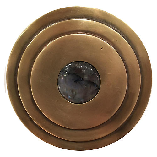 Perry Round Knob, Antiqued Brass/Labradorite