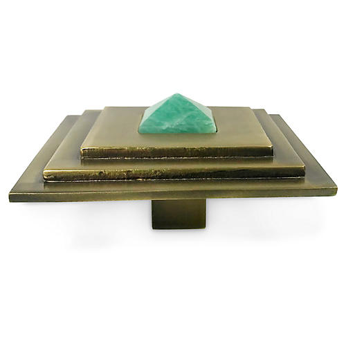 Perry Square Knob, Antiqued Brass/Amazonite
