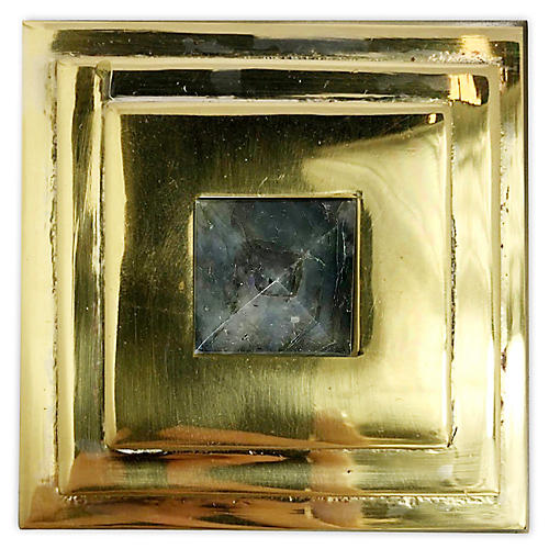 Perry Square Knob, Brass/Labradorite