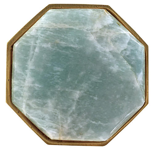 Harrison Large Pull, Brass/Amazonite