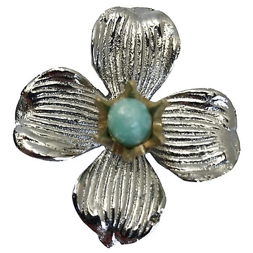 Dogwood Small Pull, Nickel/Amazonite