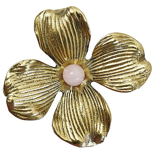 Dogwood Large Pull, Antiqued Brass/Rose Quartz