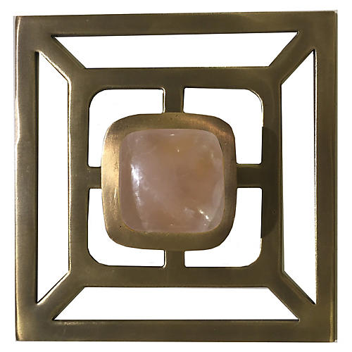 Benson Backplate Pull, Antiqued Brass/Rose Quartz