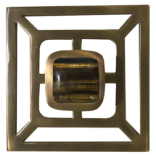 Benson Backplate Pull, Antiqued Brass/Tiger'S Eye