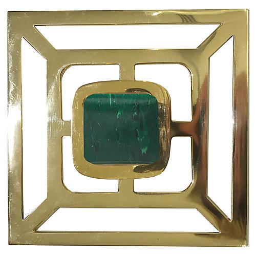 Benson Backplate Pull, Brass/Malachite