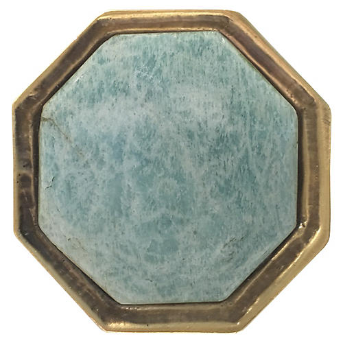 Harrison Small Pull, Antiqued Brass/Amazonite