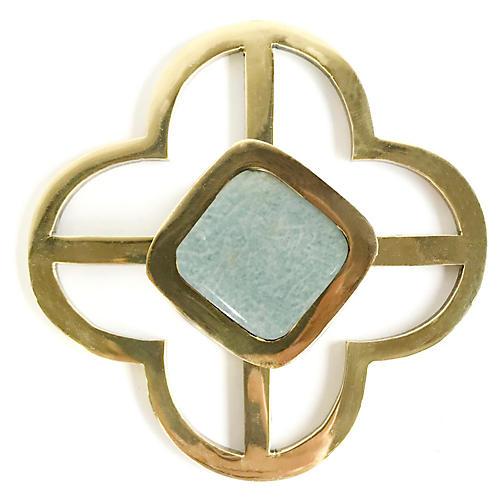 Benson Jones Backplate Pull, Brass/Amazonite